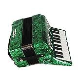 Dilwe Accordéon, 22 clés 8 Basses accordéon Piano Instrument de Musique avec Sangles Gants Chiffon Propre pour étudiants débutants (Vert)