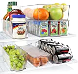 Greenco Fridge Bins, Stackable Storage Organizer Containers with Handles for Refrigerator, Freezer,...