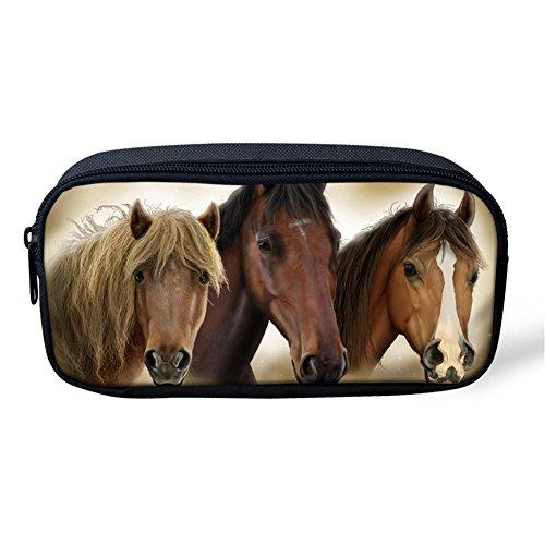 Coloranimal - Borsa per trucchi e cosmetici con chiusura a cerniera, astuccio con stampa cavallo 3D 8.66 inch(L)x1.77 inch(W)x4.33 inch(H) horse-11