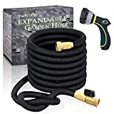 TheFitLife Flexible and Expandable Garden Hose - Strongest Triple Latex Core with 3/4' Solid Brass Fittings Free 8 Function Spray Nozzle, Easy Storage Kink Free Water Hose (100 FT)