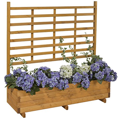 GASPO Blumenkasten mit Rankhilfe Gmunden Blumentopf aus Holz L 136 cm x T 37 cm x H 136 cm Honig