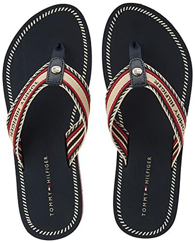Tommy Hilfiger TH Artisanal Flat Beach Sandal, Sandalias Mujer, Blue, 38 EU