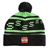 JINX Minecraft Creeper TNT Knit Pom Knit Beanie, Green/Black, One Size