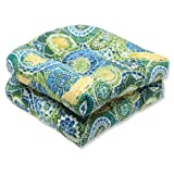 Pillow Perfect Outdoor/Indoor Omnia Lagoon Tufted Seat Cushions (Round Back), 19' x 19', Blue