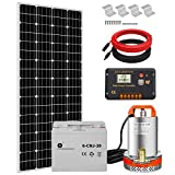Pumplus All-in-One 195W Solar Well Pump System, 12V Deep Well Submersible Pump + 195W Solar Panel + 20Ah Battery + 16ft Cable + Charge Controller for Remote Watering, Garden,Irrigation, Tank Filling