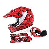 TCMT Dot Youth & Kids Motocross Offroad Street Helmet Red Spider Motorcycle Youth Helmet Dirt Bike Motocross ATV Helmet+Goggles+Gloves S