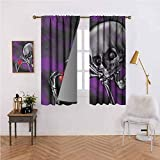 Mannwarehouse Skull Fashion Curtain Spooky and Scary Skeleton Eternal Love Valentines Symbol Heart in its Boned Skull Hands for Living, Dining, Bedroom (Pair) 72' Wx72 L Multi