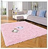 Yome Machine Washable Area Rug, Shaggy Home Decor Floor Rug, Carpet Overlocking on Edges, Ultra Soft Carpet for Bedroom, Living Room, Children's Room, Book Room, Fluffy Rug 4 x 5.3 Feet,Pink.
