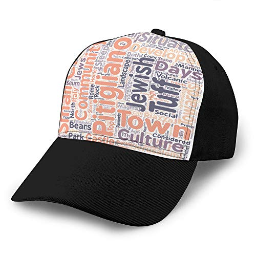 jiilwkie 1219 Cappello da Cowboy Strutturato Regolabile per Adulti pitigliano The Little Jerusalem in Maremma Text Cappellino da Baseball