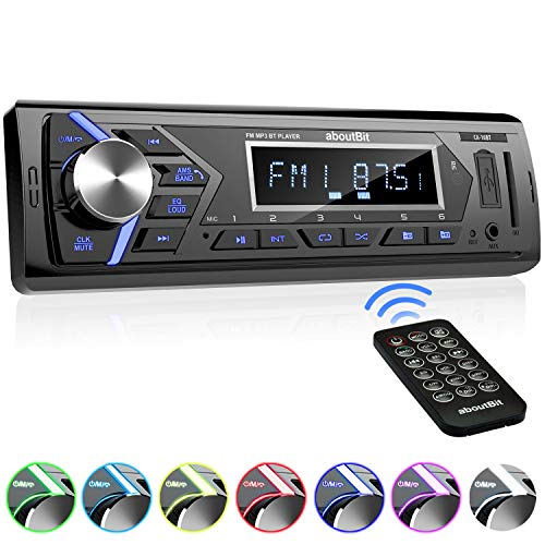 Bluetooth Car Stereo Radio Receiver,Single Din Mechless Digital Media Receiver Support FM/AM/USB/SD/FLAC/MP3/Aux-in with 7 Color Backlit,Wireless Remote Control