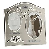 Two Tone Silverplated Wedding Anniversary Gift Photo Frame - '25th Silver