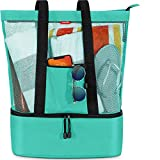 Mesh Beach Bag Tote with Detachable Insulated Cooler by OdyseaCo – Large Zippered High Capacity (Turquoise)