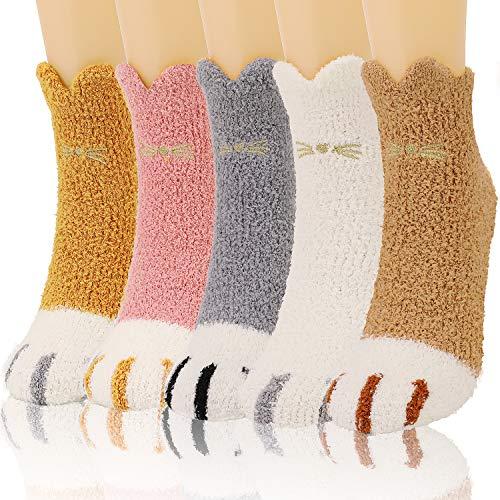 QKURT 5 paia di calzini morbidi a zampa di gatto, calzini morbidi e morbidi per l'inverno, caldi e spessi, calzini da pavimento per la casa per le ragazze delle donne