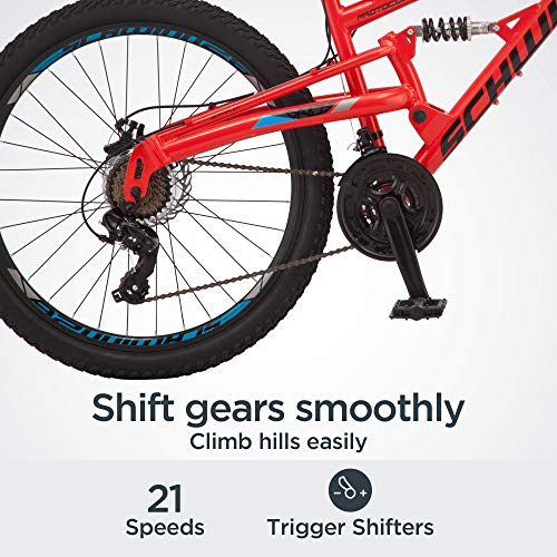 Product Image 3: Schwinn Protocol 1.0 Mens and Womesn Mountain Bike, 26-Inch Wheels, 24-Speed Drivetrain, Lightweight Aluminum Frame, Full Suspension, Red/Blue