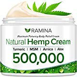 Ramina Natural Hemp Extract Pain Relief Cream - 500,000 - Turmeric, MSM & Arnica - Relieves Inflammation, Muscle, Joint, Back, Knee, Nerves & Arthritis Pain - Made in USA - Non-GMO