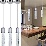 Linear Chandeliers 3 Pendant Lights for Kitchen Island Fixtures Bubble Crystal Chandeliers 6000K Daylight LED Bulbs Pendant Lighting for Island Modern Pendant Light Fixtures