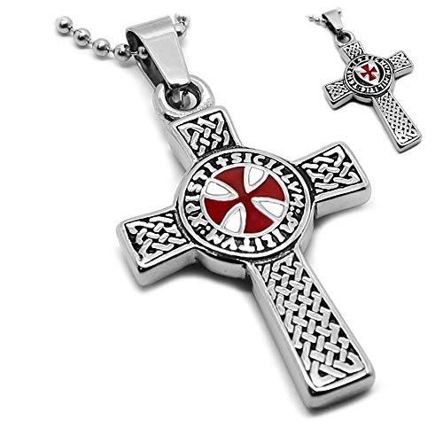 BOBIJOO Jewelry - Pendentif Collier Devise Templier Croix Latine Pattée Rouge Patriote + Chaîne