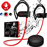 【Newest 2020】 Villain Bluetooth Headphones for Running Gym Workout - Wireless Sport Earbuds with aptX HiFi Sound & Clear Thumping Bass - Best IPX7 Waterproof Earphones with Microphone
