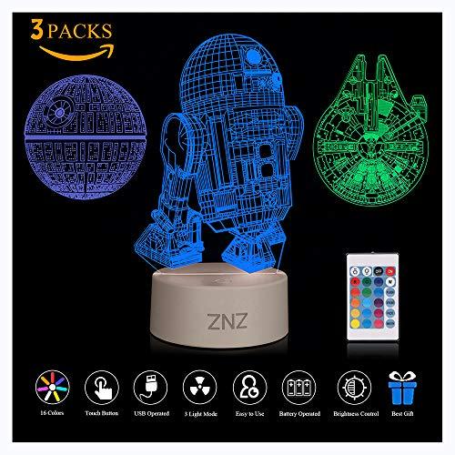 3D LED Star Wars Luz de noche, Lámpara de ilusión Death Star + R2-D2 + Millennium Falcon, Tres...