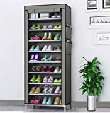 Coroid Multipurpose Portable Folding Shoes Rack Multi-Purpose Shoe Storage Organizer Cabinet Tower with Iron and Nonwoven Fabric with Zippered Dustproof Cover (Grey)
