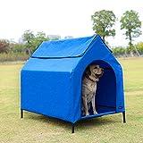 AmazonBasics - Caseta para mascotas, elevada, portátil, grande, azul