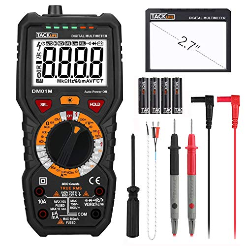 Tacklife DM01M | Digitale multimeter | Geavanceerd met 6000 tellingen | True RMS | Temperatuurmeting | Identificatie van buitencircuits | Doorgangscontrole | Achtergrondverlichting