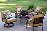 Darlee Elisabeth Cast Aluminum 5 Piece Chat Set 52'' Round Tea Table with BBQ Pit and Ice Bucket Insert, Antique Bronze