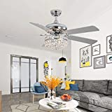 LuxureFan 52Inch Crystal Chrome Ceiling Fan with Light Gorgeous Crystal 3 Lights 5 Premium Wood Blade Led Chandelier Decoration Home/Living Room with Remote Control (Chrome)