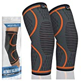 MODVEL 2 Pack Knee Compression Sleeve | FDA Approved Knee Brace | Knee Support for Arthritis, ACL, Meniscus Tear, Running, Biking, and Sports | Joint Pain Relief, Promotes Faster Injury Recovery