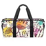 HANDIYA Bolsa de gimnasio duradera de 45,72 cm con correa ajustable, diseño de alas de amor para el día de San Valentín