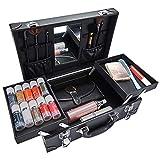 Portátil Caja de Maquillaje Neceser Cortes de Cabello Bolsa de Herramientas de Viajes Profesional Salón Corte de Pelo Kit de Aseo Organizador de Almacenamiento con Bloquear Espejo,Negro