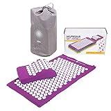Kit d'acupression VITAL aubergine : Tapis d'acupression 74 x 44 cm aubergine + Coussin d'acupression 33 x 28 cm aubergine