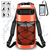 Waterproof Dry Bag - Roll Top Dry Backpack Floating Sack 10L/20L/30L with Water Resistant Phone Case for Beach, Kayaking, Rafting, Boating, Swimming, Fishing, Hiking, Birthday Gift (Orange, 20L)