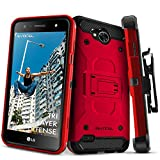 LG X Power 2 / LG X Charge/LG Fiesta 2 / LG Fiesta LTE Case, Evocel [Trio Pro Series] Textured Body, Multiple Layers, Kickstand for Model No M327 / L63BL / L64VL / US701, Red