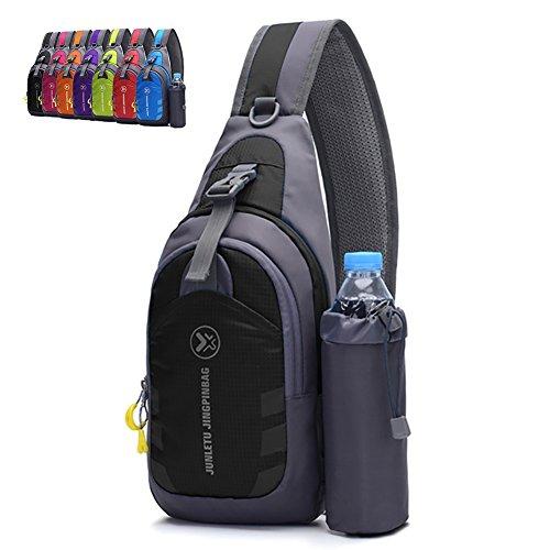 Peicees Chest Crossbody Backpack Sling Backpack Travel Bike Gym Outdoor Daypack Single Shoulder Sling Bag with Water Bottle Holder for Women Men Boys and Girls(Black)