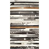 Safavieh Studio Leather Collection STL215A Handmade Modern Abstract Ivory and Brown Leather Area Rug (3' x 5')
