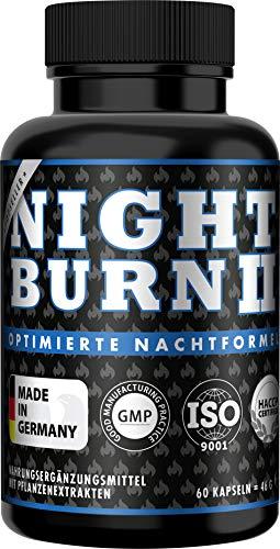 NIGHT BURN 2 Kapseln für die Nacht, die Erfolgs-Rezeptur aus den USA, Made in Germany nach ISO und HACCP, 60 Kapseln