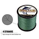 HERCULES Super Strong 1000M 1094 Yards Braided Fishing Line 60 LB Test for Saltwater Freshwater PE Braid Fish Lines 4 Strands - Green, 60LB (27.2KG), 0.40MM