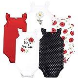 Hudson Baby Unisex Baby Cotton Sleeveless Bodysuits, Poppy Daisy, 0-3 Months