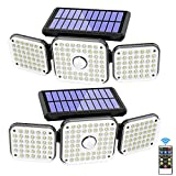 Solar Lights Outdoor, 132 LED 1500LM Solar Security Flood Lights with Remote Control, Wireless Motion Sensor Lights 3 Heads 270° Wide Angle Illumination IP65 Waterproof Wall Lights (2 Packs)