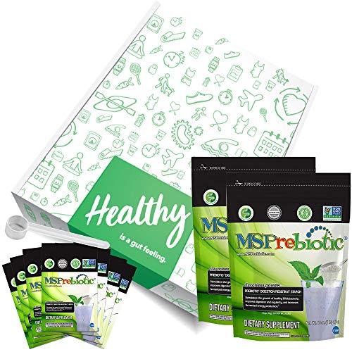 Prebiotic Powder Fiber Supplement: UNFLAVORED Digestive Gut Health Prebiotics by MSPrebiotic. Best Natural Superfood Health Supplements Feed Probiotics for Women, Men. Pre Workout Energy (Gift Box) 1