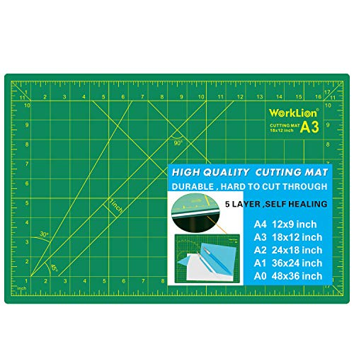 WORKLION 12' x 18' Art Self Healing PVC Cutting Mat, Double Sided, Gridded Rotary Cutting Board for Craft, Fabric, Quilting, Sewing, Scrapbooking Project