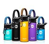 WaterFit Vacuum Insulated Water Bottle - Double Wall Stainless Steel Leak Proof BPA Free Sports Wide Mouth Water Bottle - Travel Straw Lid - 12oz 16oz 20oz - 5 Colors with Paracord Handle