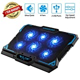Laptop Cooling Pad, Laptop Cooler with 6 Quiet Led Fans for 15.6-17 Inch Laptop...