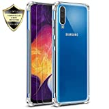 Galaxy A70 Case, Androgate Clear Transparent Slim Soft TPU Shock-Absorption Cover Bumper Case and 2 PCs Tempered Screen Protectors for Samsung Galaxy A70