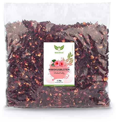 NaturaForte 1000g Hibiskus-Blüten - 1a Premiumqualität, Ganze luftgetrocknete Blüten für Hibiskus-Tee im Aroma-Beutel, Ohne künstliche Farbstoffe, Aromen oder Zusätze, Ungeschwefelt