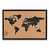 Zeller 11571 Tableau World 60x40cm en liège, Bois, Marron/Noir, 60 x 40 x...