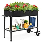 Best Choice Products Mobile Raised Metal Planter Garden Bed for Backyard w/Wheels, Lower Shelf, 38x16x32in - Dark Gray