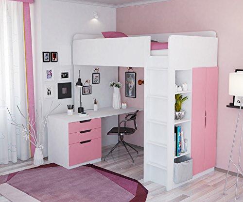 Polini Kids Kinder Etagenbett Hochbett mit Kleiderschrank Schreibtisch,1447.21