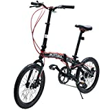 Murtisol 20 Inch Folding Bike Shimano 7 Speeds Disc Brake Aluminum 11.6 Inch Frame Adjustable Seat and Handlebars, Color Black-Red